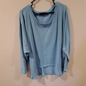 Teal over sized sweater shirr